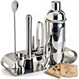 Mixology Bartender Kit: 9-Piece Bar Set Cocktail Shaker Set with Elegant Metal Stand | Perfect Home Bar Tool Set with Martini Shaker For an Awesome Drink Mixing Experience | Exclusive Recipes Bonus