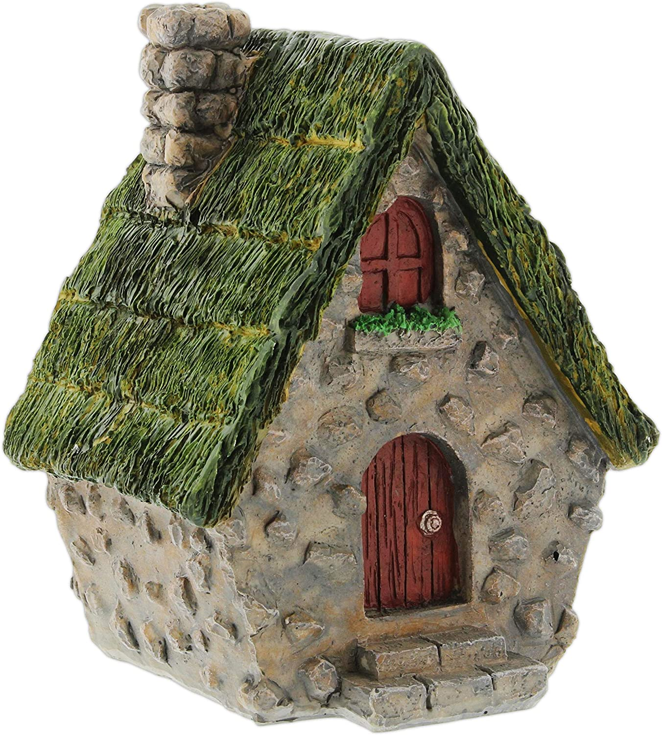 Light Green Distinctive Designs Thatched Roof Resin Fairy Garden House