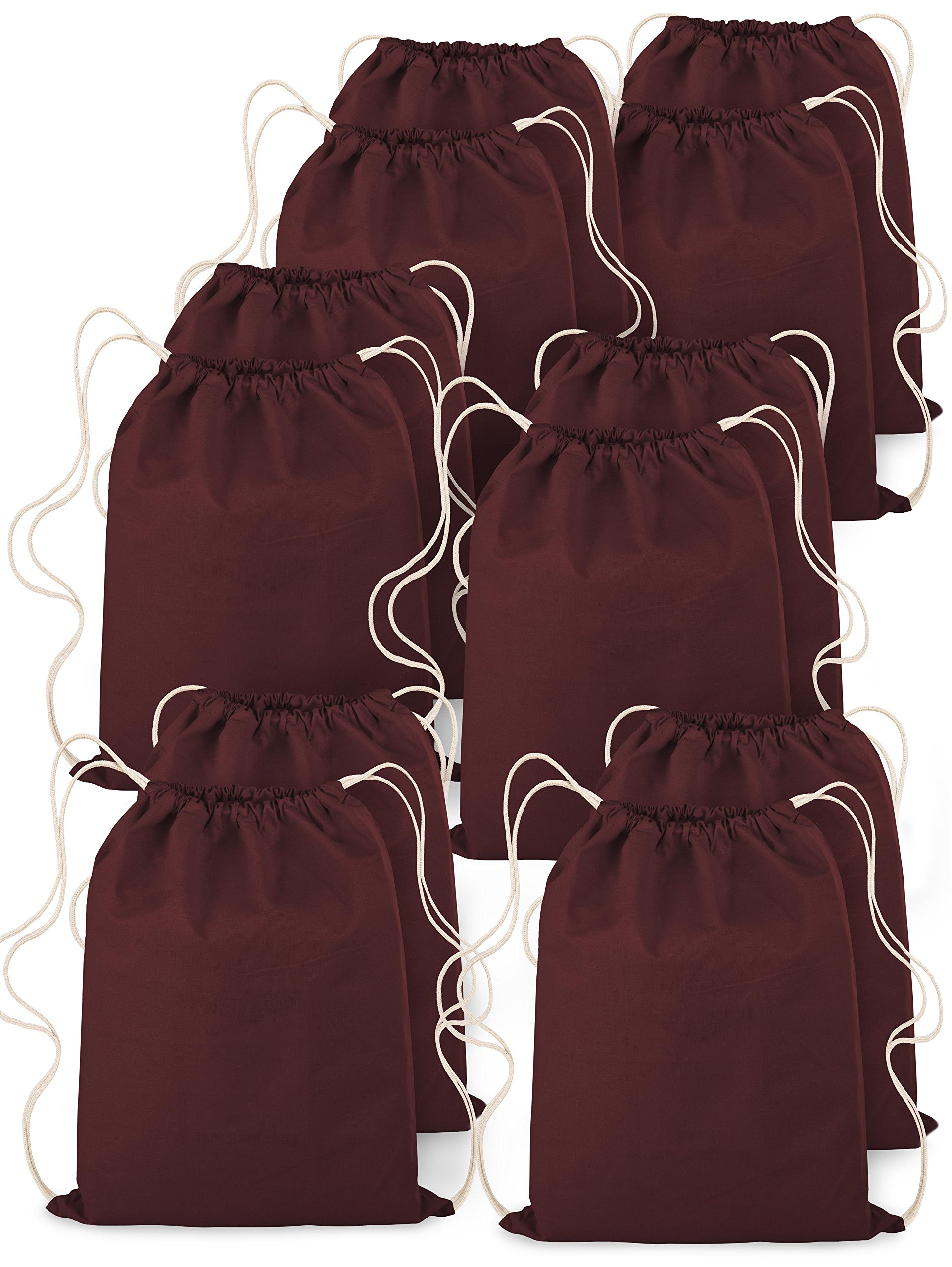 Backpack Drawstring Canvas On-The-Go Sportpack Bag Maroon 14''x18'' 100% Cotton Pack of 12