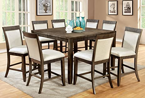 Charming Furniture Of America Stila 9 Piece Transitional Pub Dining Set, Gray