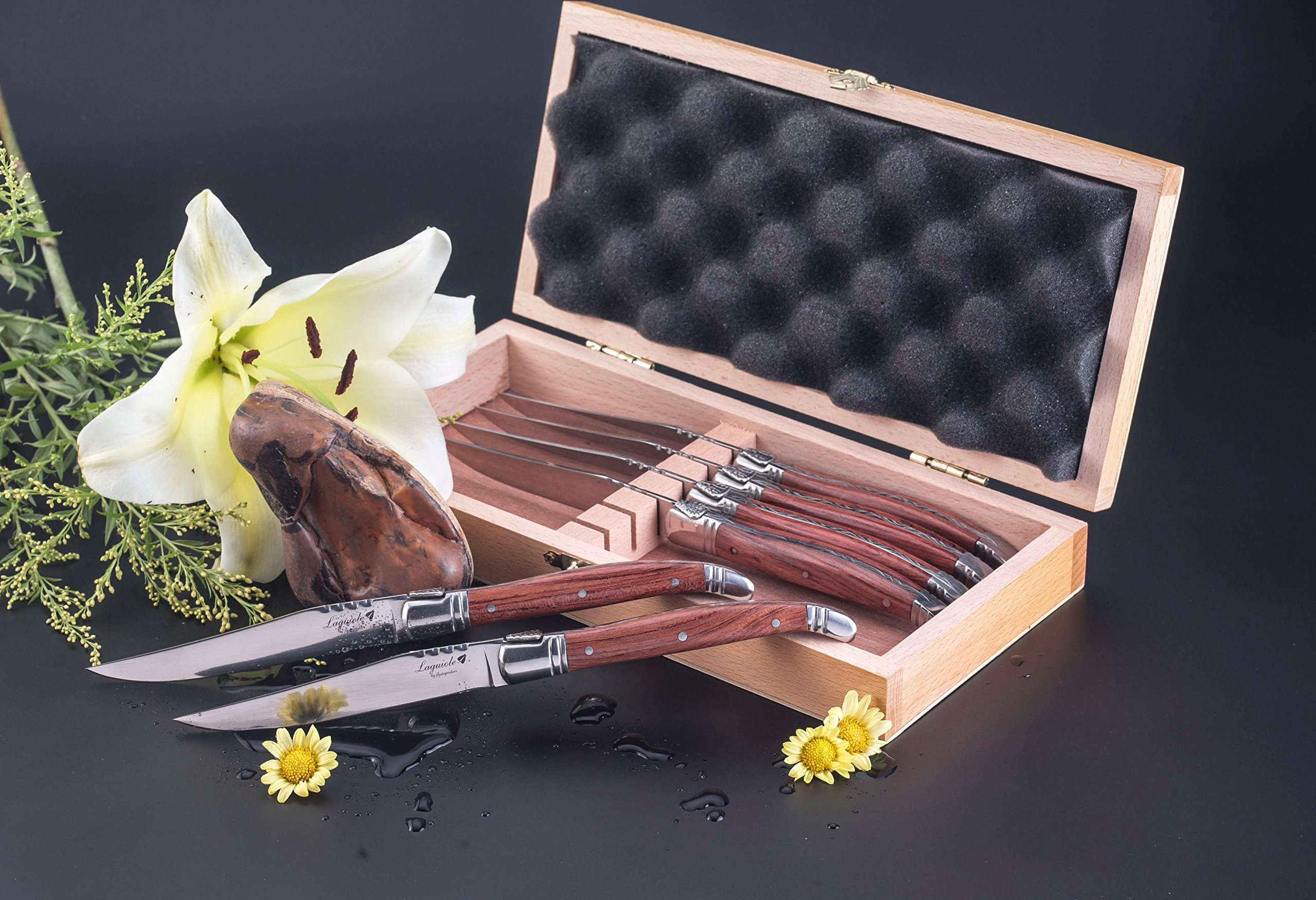 FlyingColors Laguiole Steak Knife. Stainless Steel, Rose Wood Handle, Wooden Gift Box, 6 Piece by LAGUIOLE BY FLYINGCOLORS (Image #3)