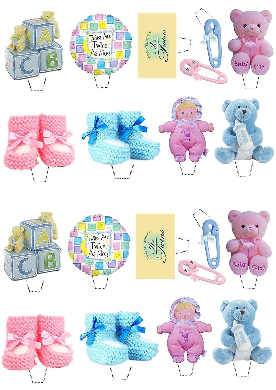 Baby Shower Gemelos, niño y niña/rosa y azul, decoración para tartas stand-up oblea comestible cupcake toppers, Pack of 36: Amazon.es: Hogar