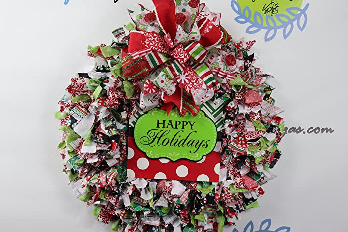 christmas rag wreath happy holidays fabric wreath decor whimsical christmas wreath