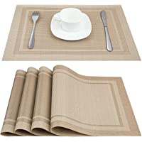 Artand Placemats, Heat-Resistant Placemats Stain Resistant Anti-Skid Washable PVC Table Mats Woven Vinyl Placemats, Set…