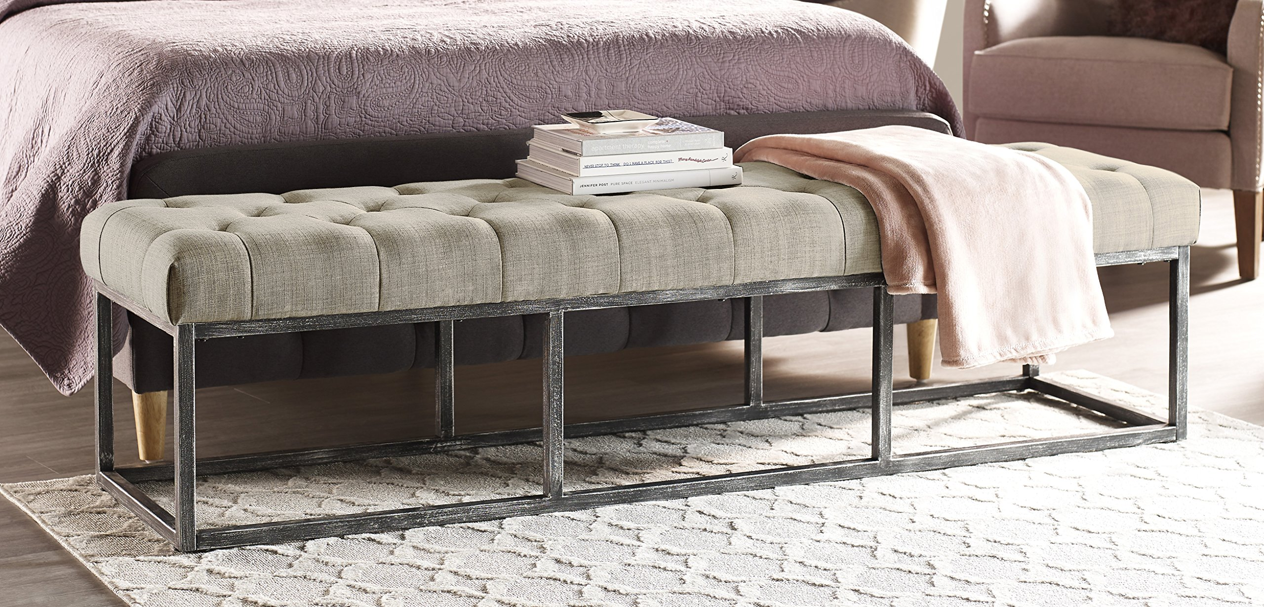 Serta Danes Tufted Bench with Iron Legs, Ivory