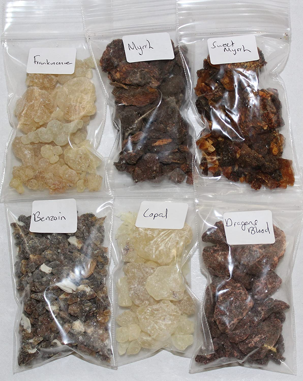 Resin Incense Sampler Set of 6: Frankincense - Myrrh - Opoponax - Benzoin - Copal - Dragons Blood by Rainbowrecords239