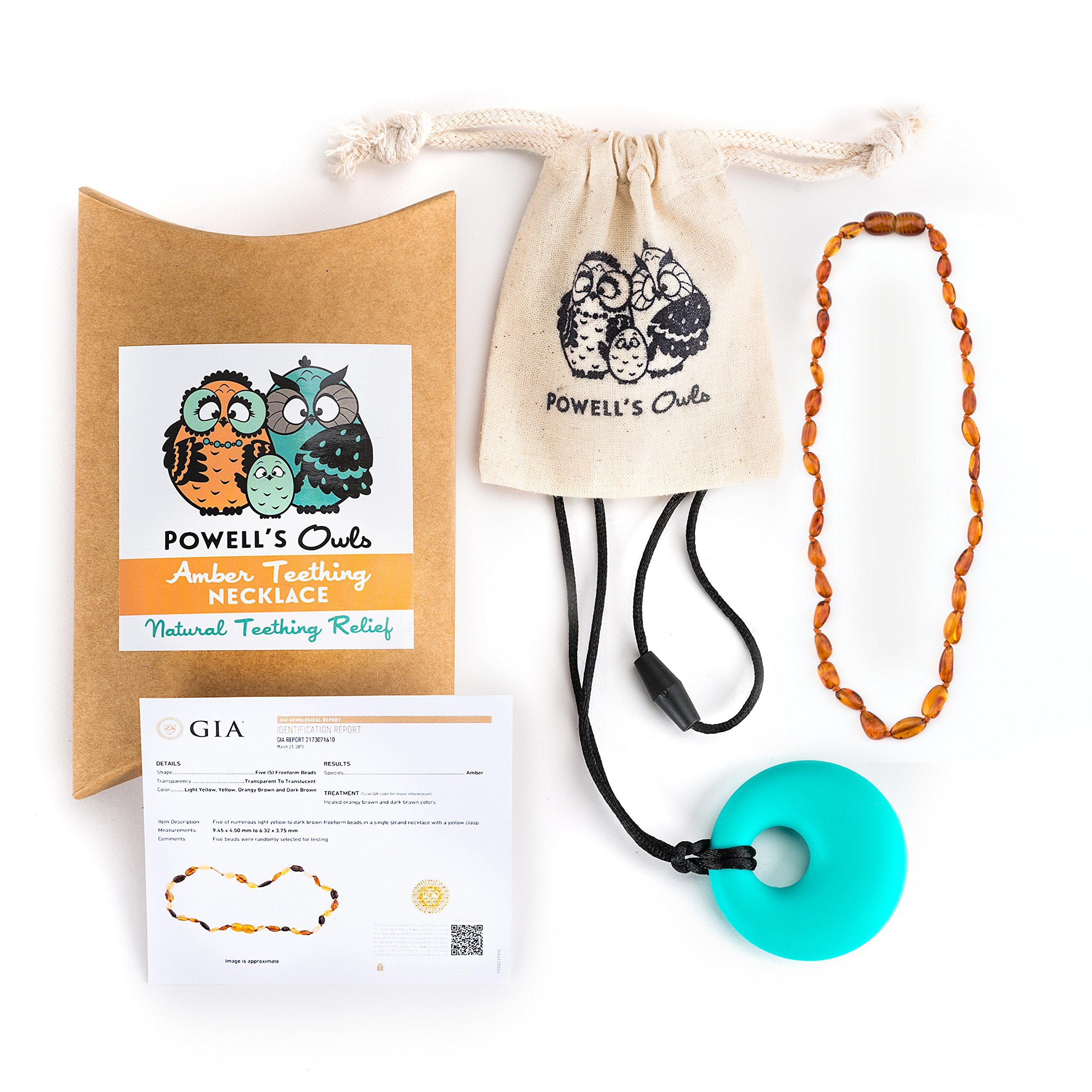 "Baltic Amber Teething Necklace Gift Set + FREE Silicone Teething Pendant ($15 Value) Handcrafted, 100% USA Lab-Tested Authentic Amber - Natural, Soothing Teething Pain Relief (Unisex - Cognac - 12.5"")"