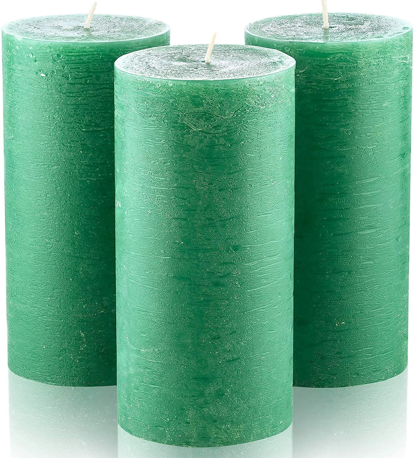 "Set of 3 Dark Green Unscented Pillar Candles 3"" x 6"" Emerald Candle for Weddings Restaurant Home Decoration Spa Church Smokeless"