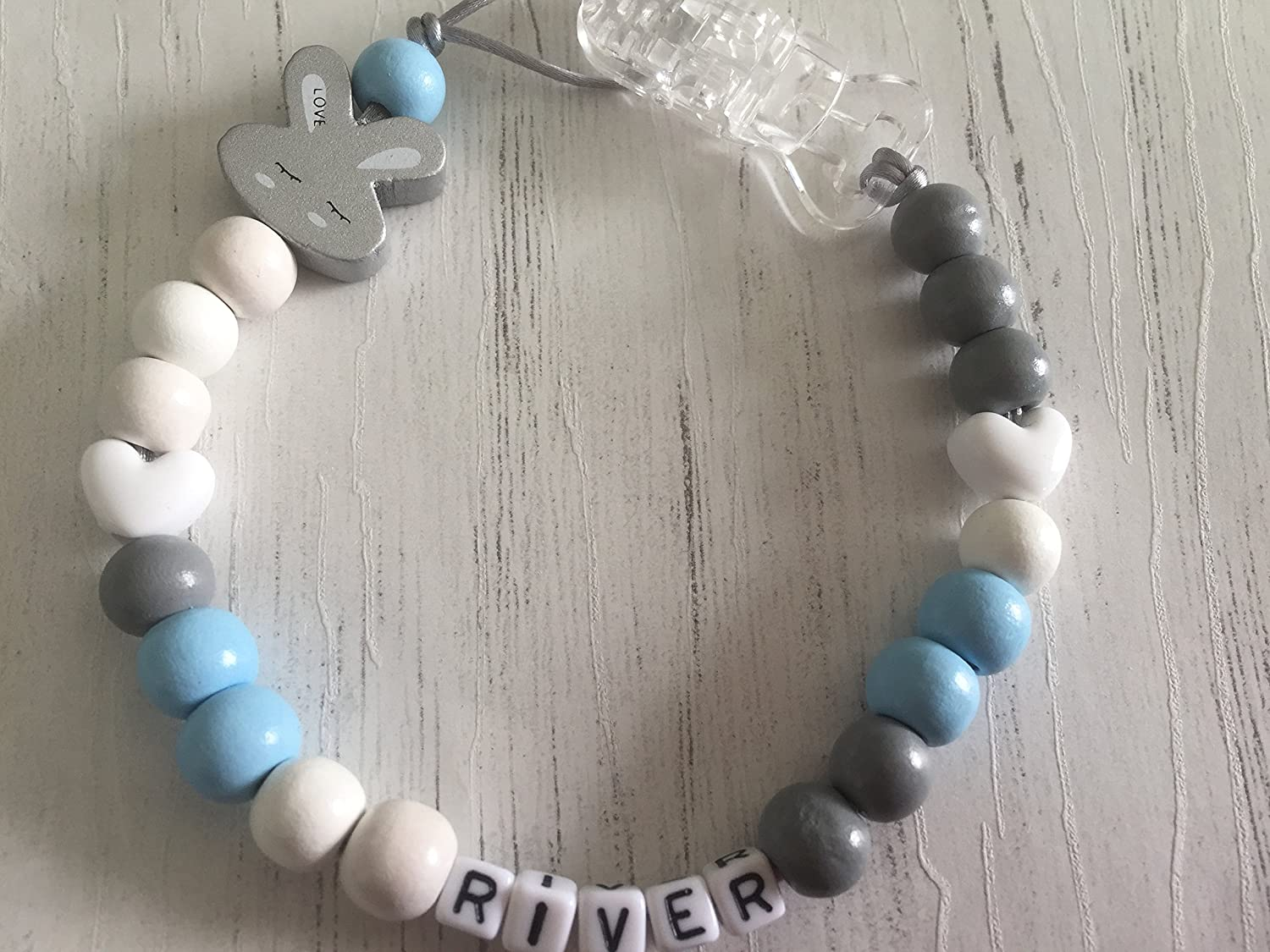 Handmade from The U.K. Blue Personalised Baby Dummy Clip Grey and White Rabbit Soother Chain Bunny Pacifier Holder