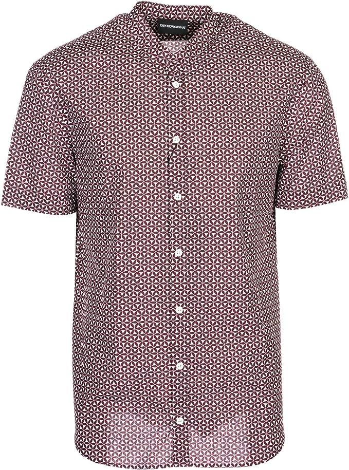 Emporio Armani Hombre Camisa de Manga Corta Bordeaux M: Amazon.es: Ropa y accesorios