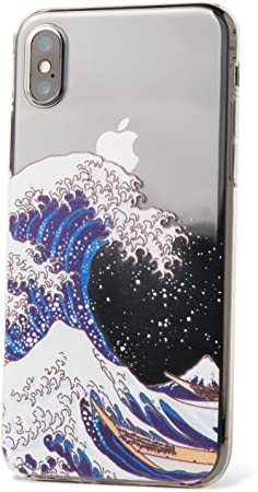 ZUKOU Coque Transparente pour iPhone XS Motif Vague de Kanagawa Katsushika Hokusai UKIYOE Japon (Compatible avec iPhone X)