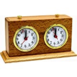 Apex Chess Clock Timer: Mechanical Analog Wind-Up & Wood Base