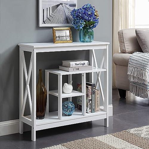 White Finish 4-Tier X-Design Occasional Console Sofa Table Bookshelf Bookcase