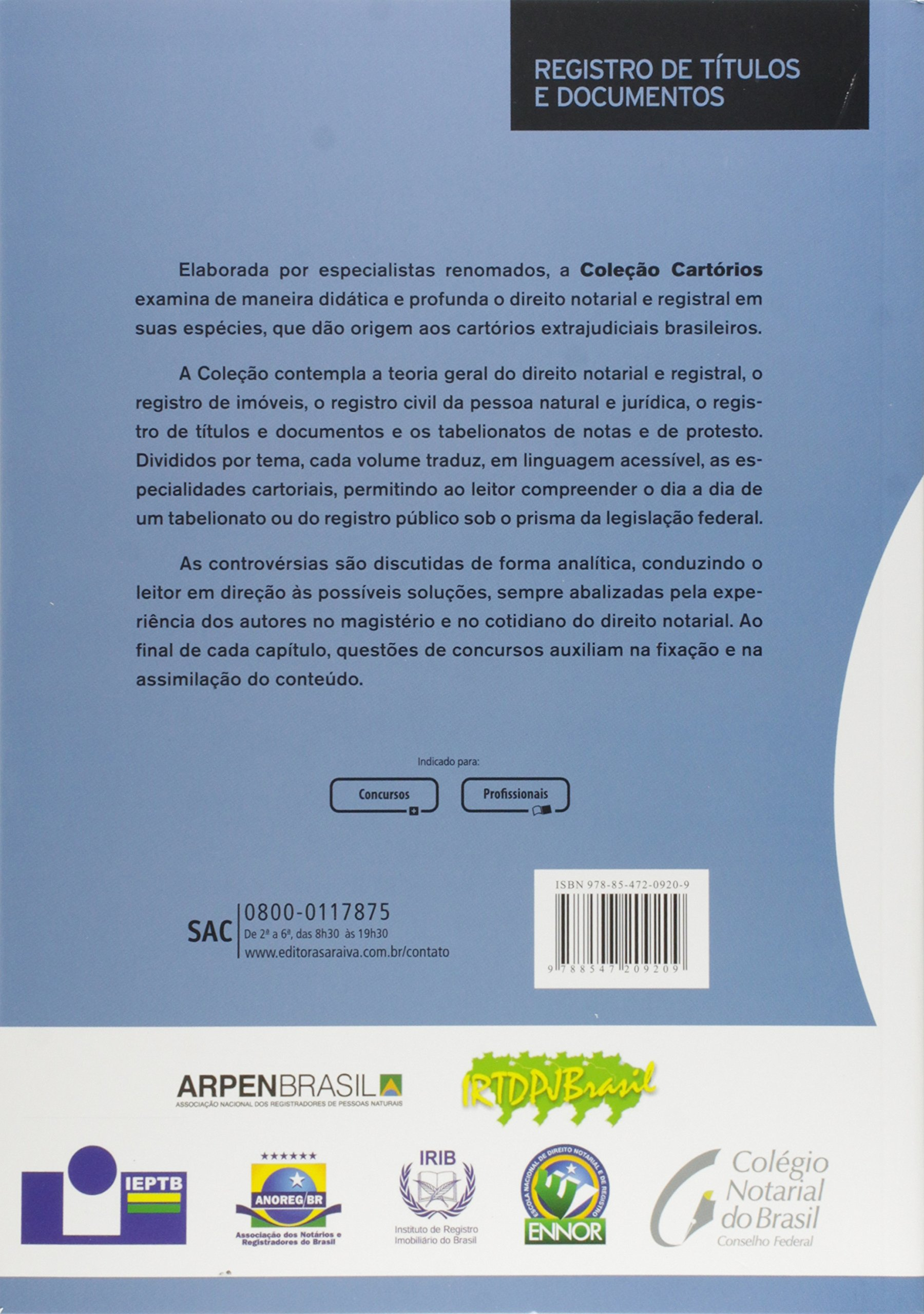 Registro De Titulos E Documentos - Col. Cartorios - 2ª Ed. 2016: Christiano Cassettari: 9788547209209: Amazon.com: Books