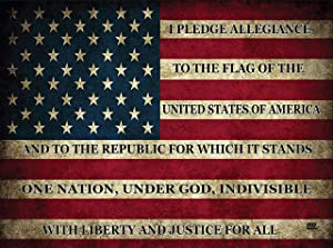 Pledge of Allegiance USA Flag Glass Cutting Board Decorative American United States of America Rustic Design