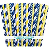 Outside the Box Papers Yellow and Navy Blue Chevron and Stripe Paper Straws 7.75 Inches- 100 Navy Blue, Yellow