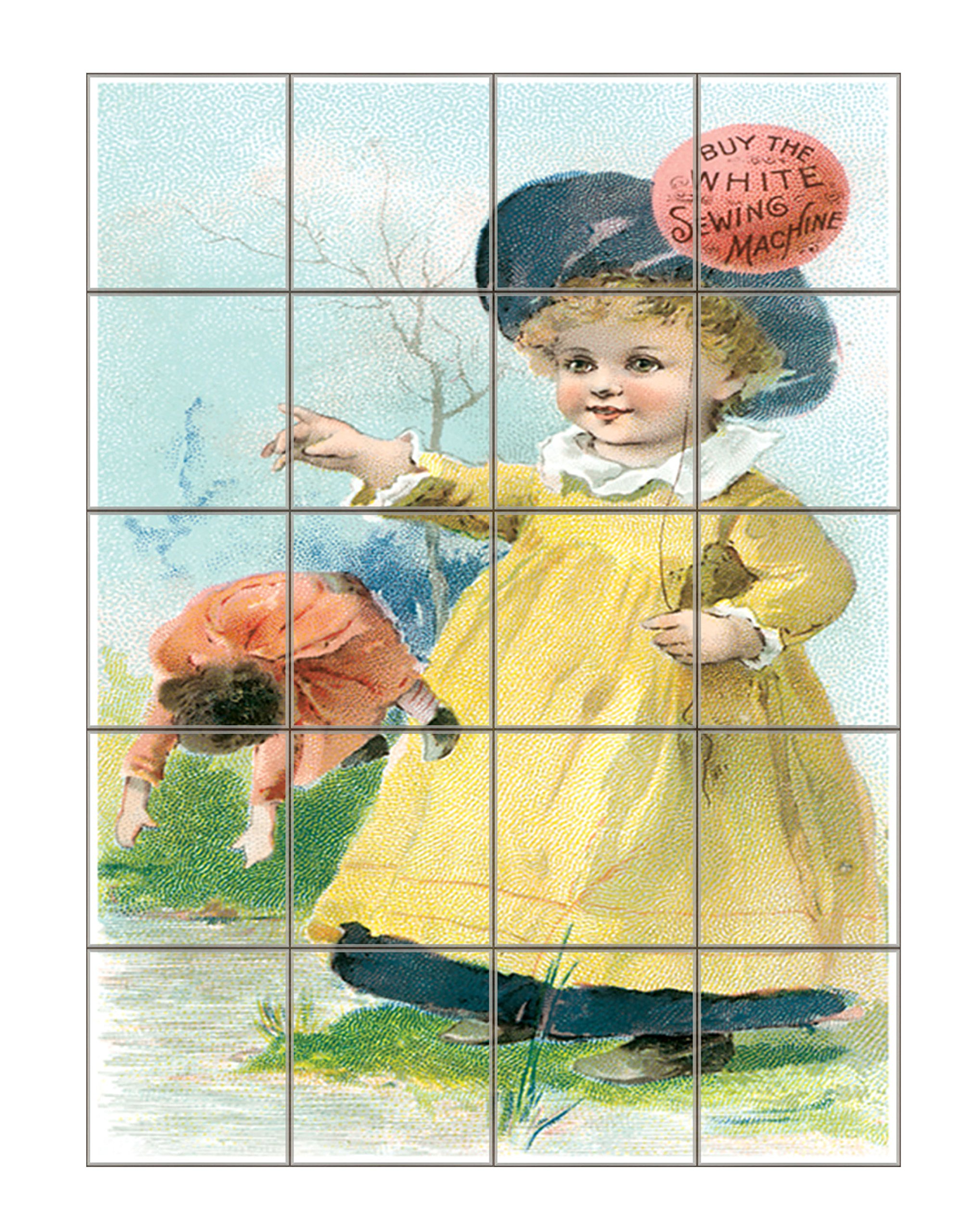 White Sewing Machine Advertising Poster Vertical Tile Mural Satin Finish 20''Hx16''W 4 Inch Tile