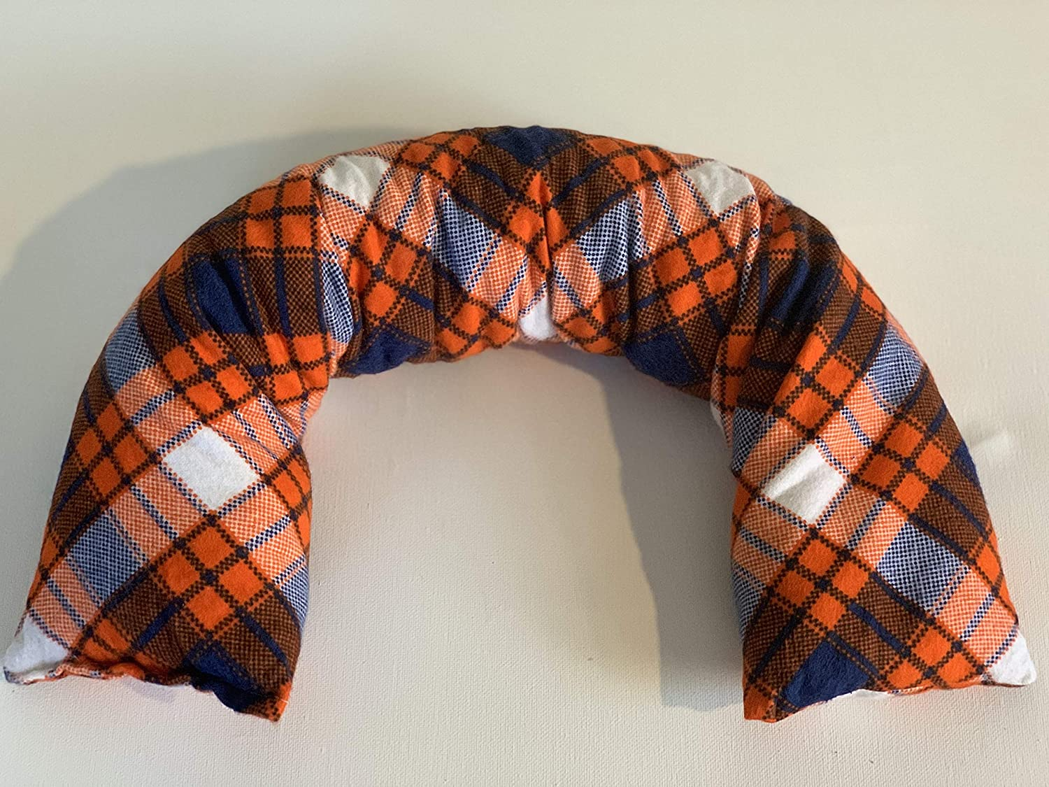 Orange and Navy Plaid Corn Neck Wrap Heating Bag Therapeutic Pad Ice Pack Heating Pad 24inx4in