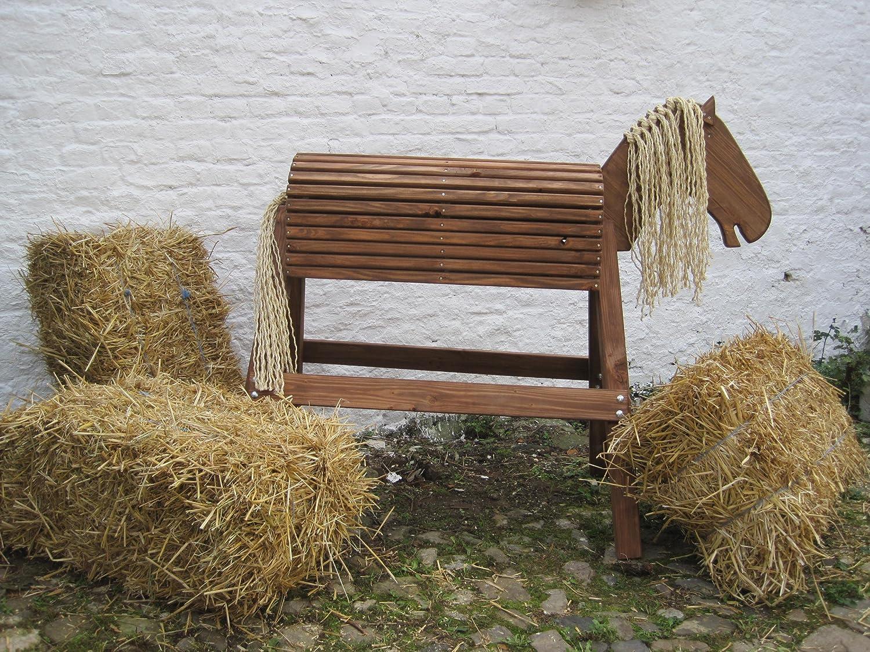 Holzpferd Voltigierpferd Holzpony Gr. L, in Eiche lasiert