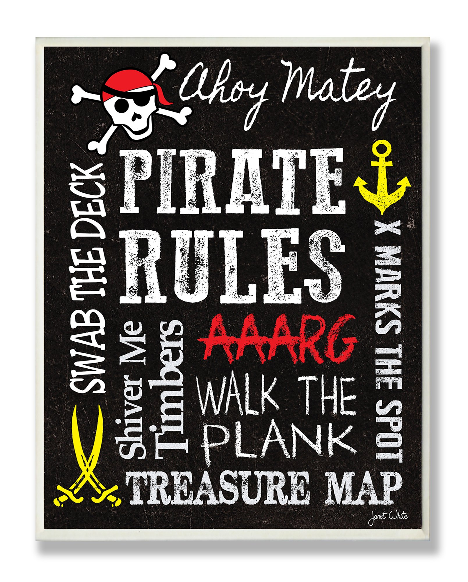 The Kids Room by Stupell Pirate Rules Rectangle Wall Plaque, 11 x 0.5 x 15, Proudly Made in USA by The Kids Room by Stupell