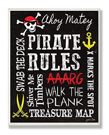 Amazon Com The Kids Room By Stupell Pirate Rules Rectangle Wall Plaque 11 X 0 5 X 15 Proudly Made In Usa Baby