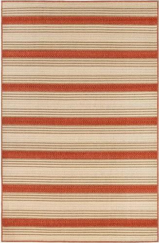 Liora Manne Riviera Geometric Area Rug, 6 6 x 9 3 , Stripe Red