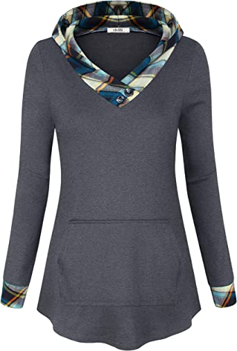 Womens Casual Plaid Check T Shirt Long Sleeve Tunic Tops Hoodies Pullover Jumper