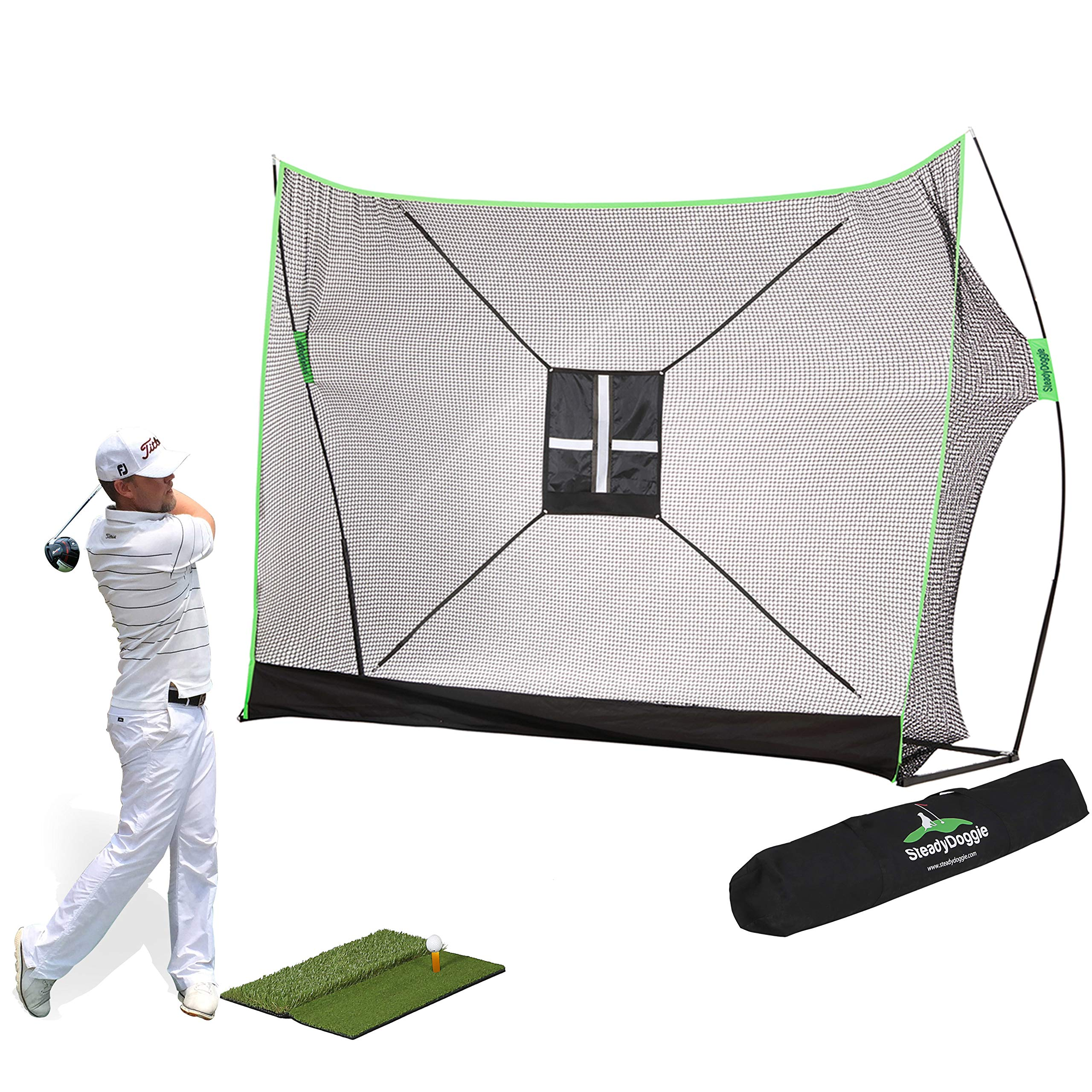Golf Net Bundle 4pc | Professional Patent Pending Design Golf Practice Net | Dual-Turf Golf Mat, Chipping Target and Carry Bag | The Right Choice of Golf Nets for Backyard Driving & Golf Hitting Nets by SteadyDoggie
