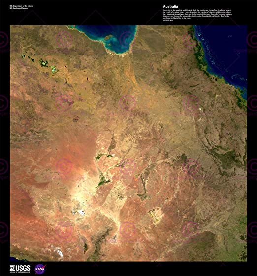 SCIENCE MAP SATELLITE AUSTRALIA CORAL REEF OLD LARGE REPRO POSTER PRINT PAM1502