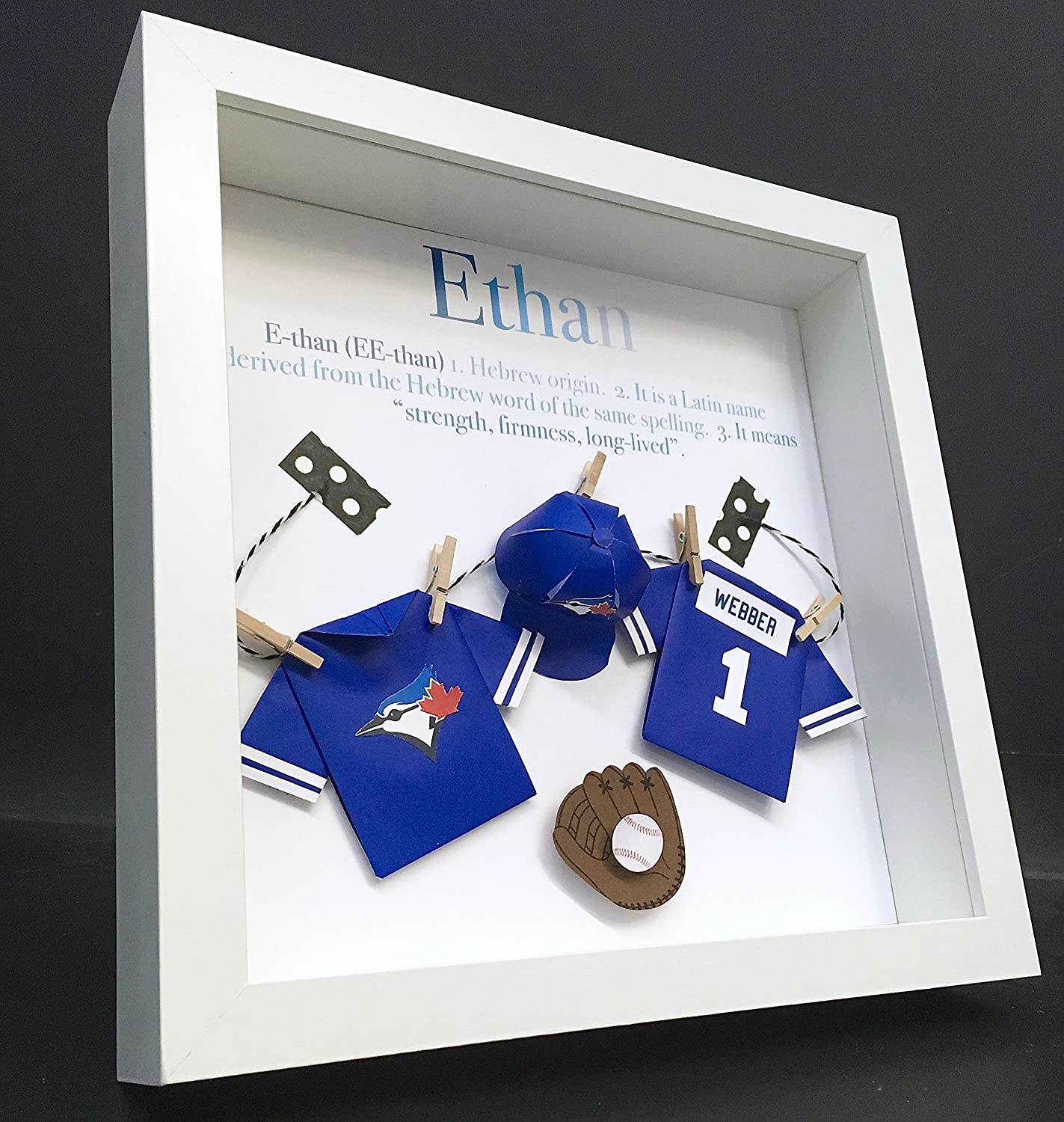 Personalized Baby Name Origin and Meaning Paper Origami Baseball Toronto Blue Jays Shadowbox Frame Newborn Baby Shower Nursery Decor Gift