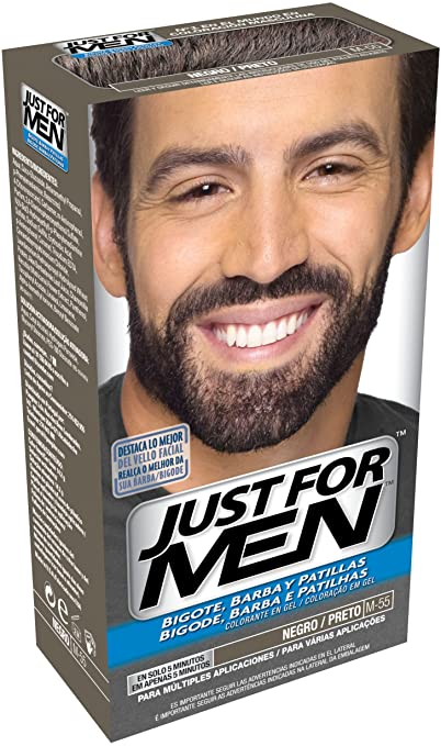 JUST FOR MEN Colorante en gel bigote barba y patillas - Tinte para las canas de la barba para hombres - castaño negro claro - 15 ml: Amazon.es: Belleza