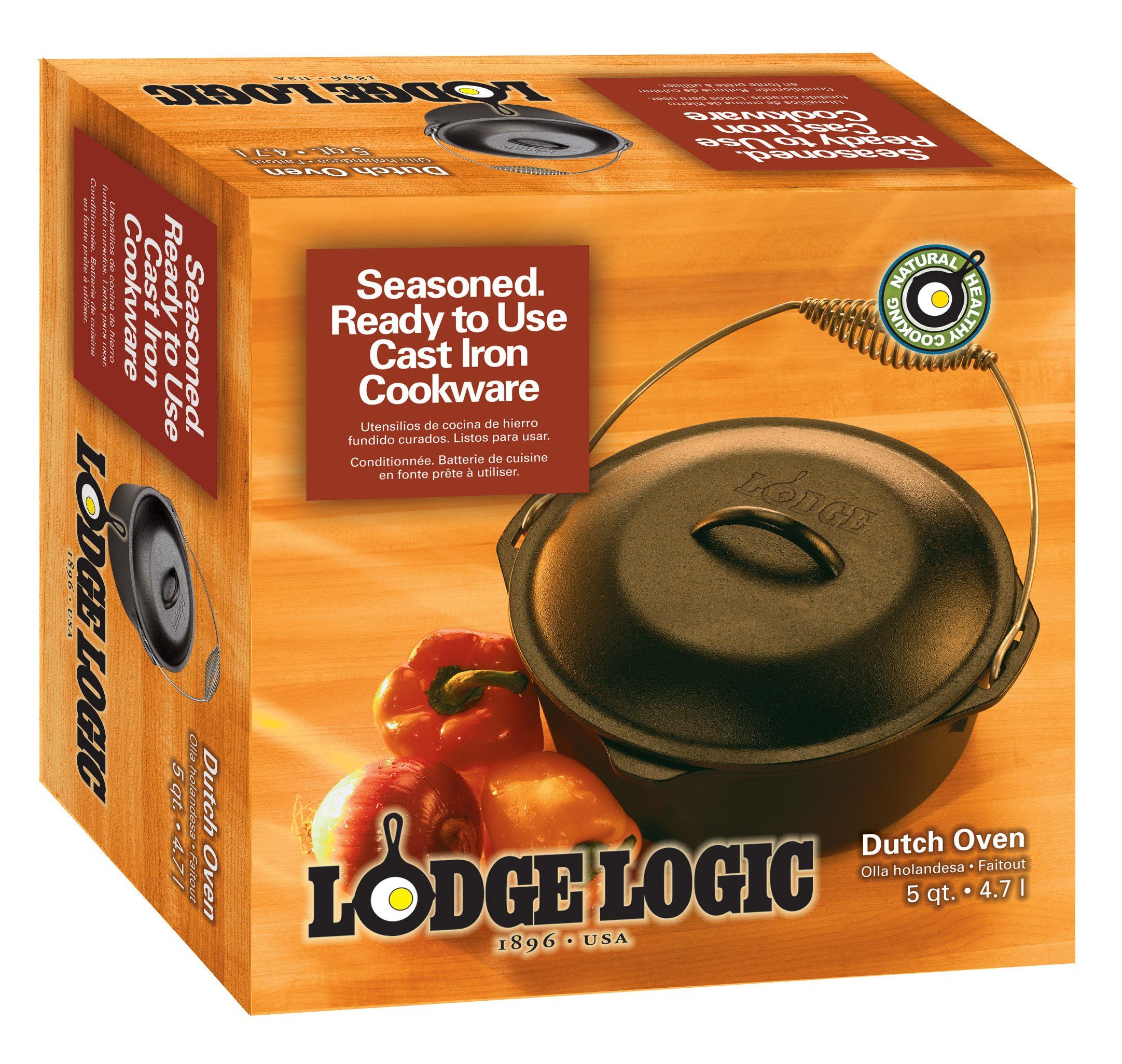 Lodge 5 Quart Cast Iron Dutch Oven. Pre Seasoned Cast Iron Pot and Lid with Wire Bail for Camp Cooking by Lodge