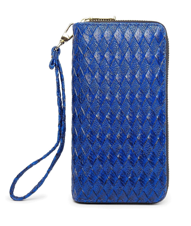 Bzwdeepbluee24a8 LIKESHE Women PU Double Zip Around Clutch Large Travel Purse Wrist Strap Blocking Wallet