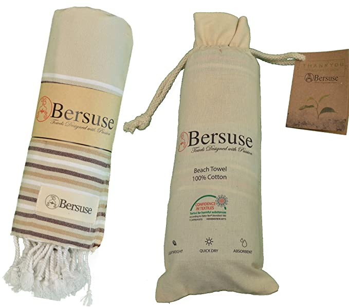 Bersuse 100% Algodón - Teos Toalla Turca - Certificado OEKO-TEX - Fouta Peshtemal para Baño en la Playa - Pestemal de Ricos Colores en Rayas - 100X180 cm, ...