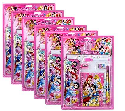 Asera 6 Sets Of Pink Disney Princess Stationery Gift Set For Kids Birthday Return Gifts Snowwhite Theme Party Amazonin Toys Games
