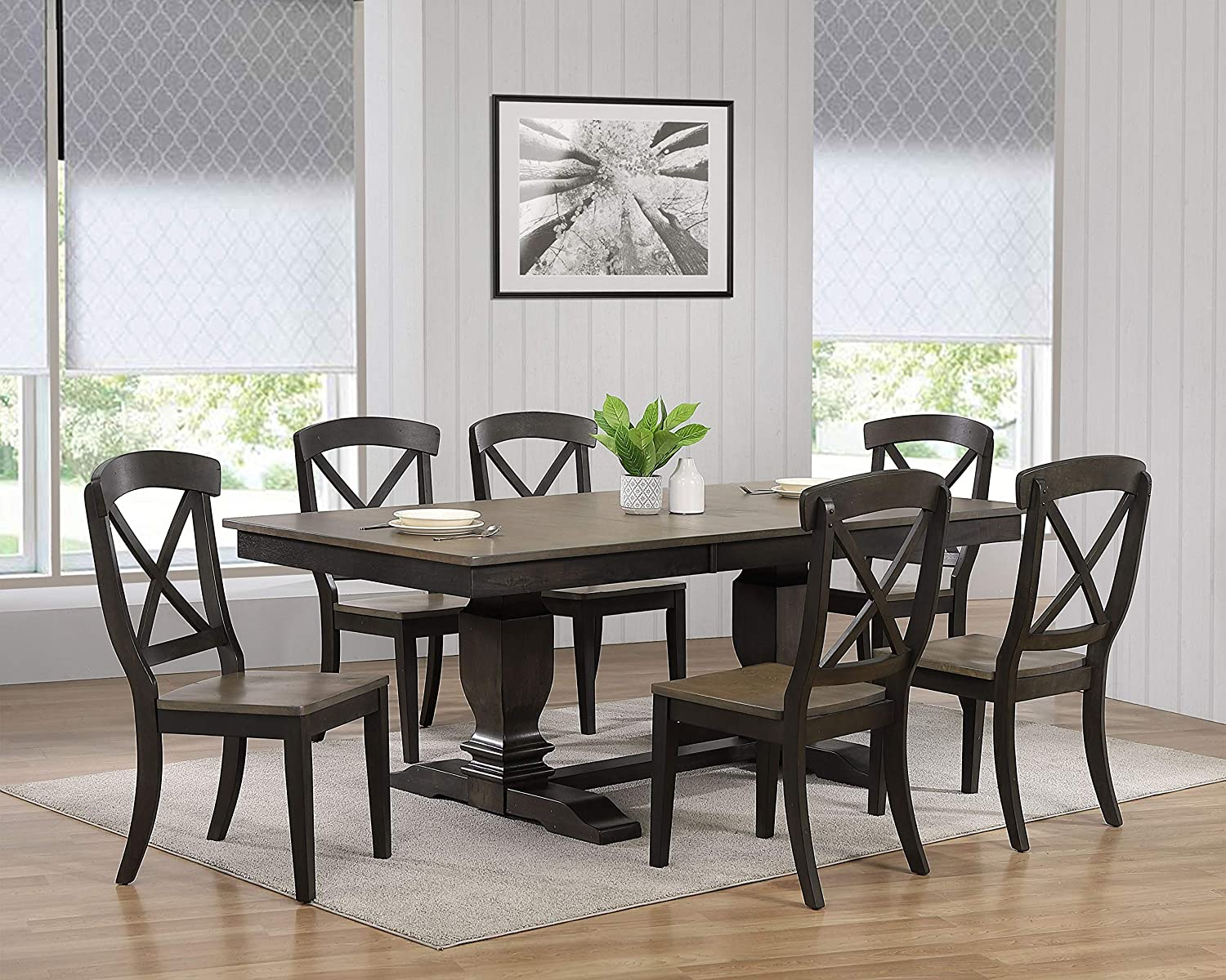 Amazon Com Iconic Furniture Company Rt82 Tr Ch60grsbks 7 7 Piece Dining Set Antique Grey Stone Black Stone Table Chair Sets