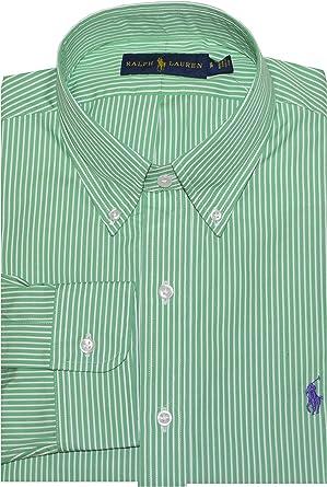 Ralph Lauren Men Pony Logo Button-Down Striped Dress Shirt (15, Green/White)