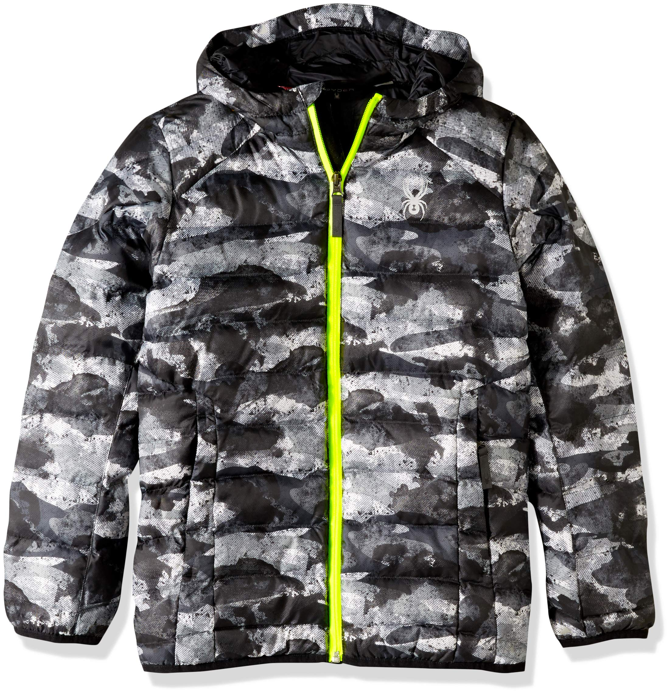Spyder Boys' Geared Hoody Synthetic Down Jacket, Camo Distress Print/Camo Distress Print/Bryte Yellow, Medium