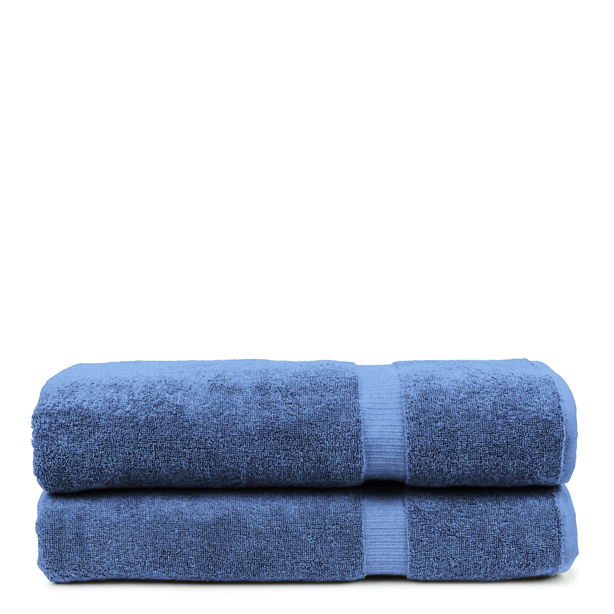 Bare Cotton Luxury Hotel & Spa Towel Turkish Bath Sheets Dobby Border (Wedgewood, Bath Sheets - Set of 2)