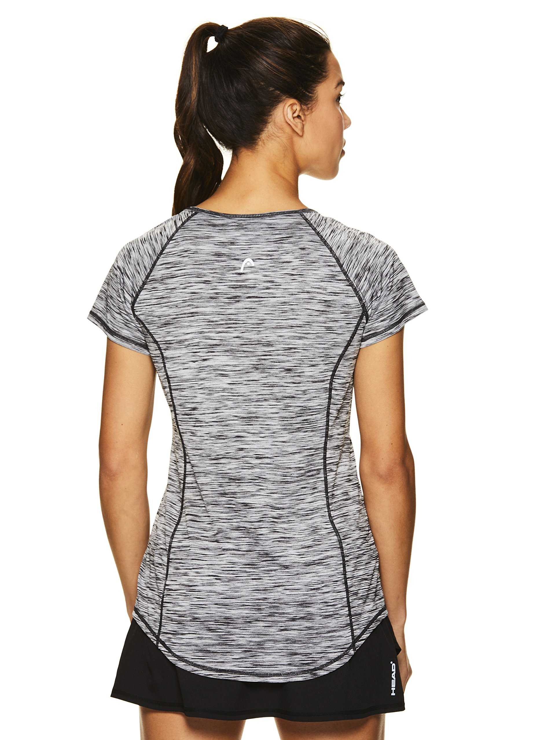 HEAD Women's Serena Short Sleeve Workout T-Shirt - Performance Crew Neck Activewear Top - Black Heather, X-Small by HEAD (Image #3)