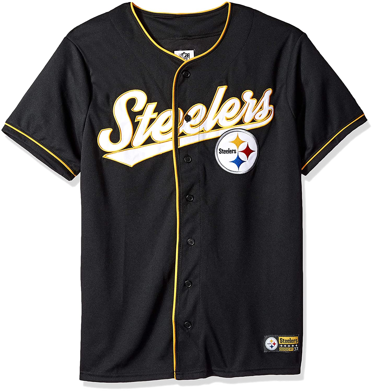 Small NFL Pittsburgh Steelers Ultra Game Mens MESH BASEBALL JERSEY Black