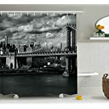 Ambesonne New York Shower Curtain, Black and White Panorama of New York City Skyline with Focus on Manhattan Bridge Photo, Fabric Bathroom Decor Set with Hooks, 70 Inches, Grey