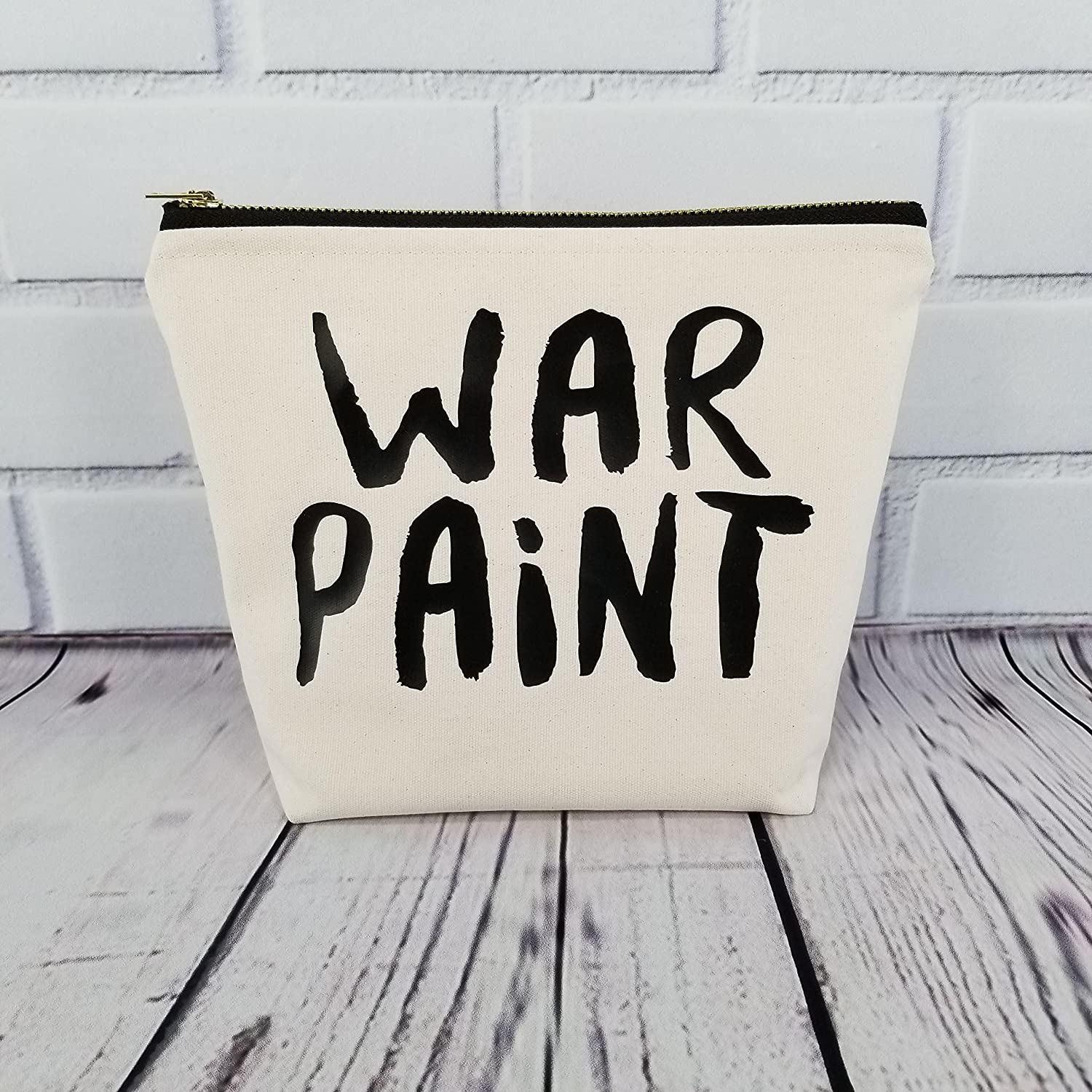 War Paint Cotton Canvas Makeup Bag with Brass Zipper