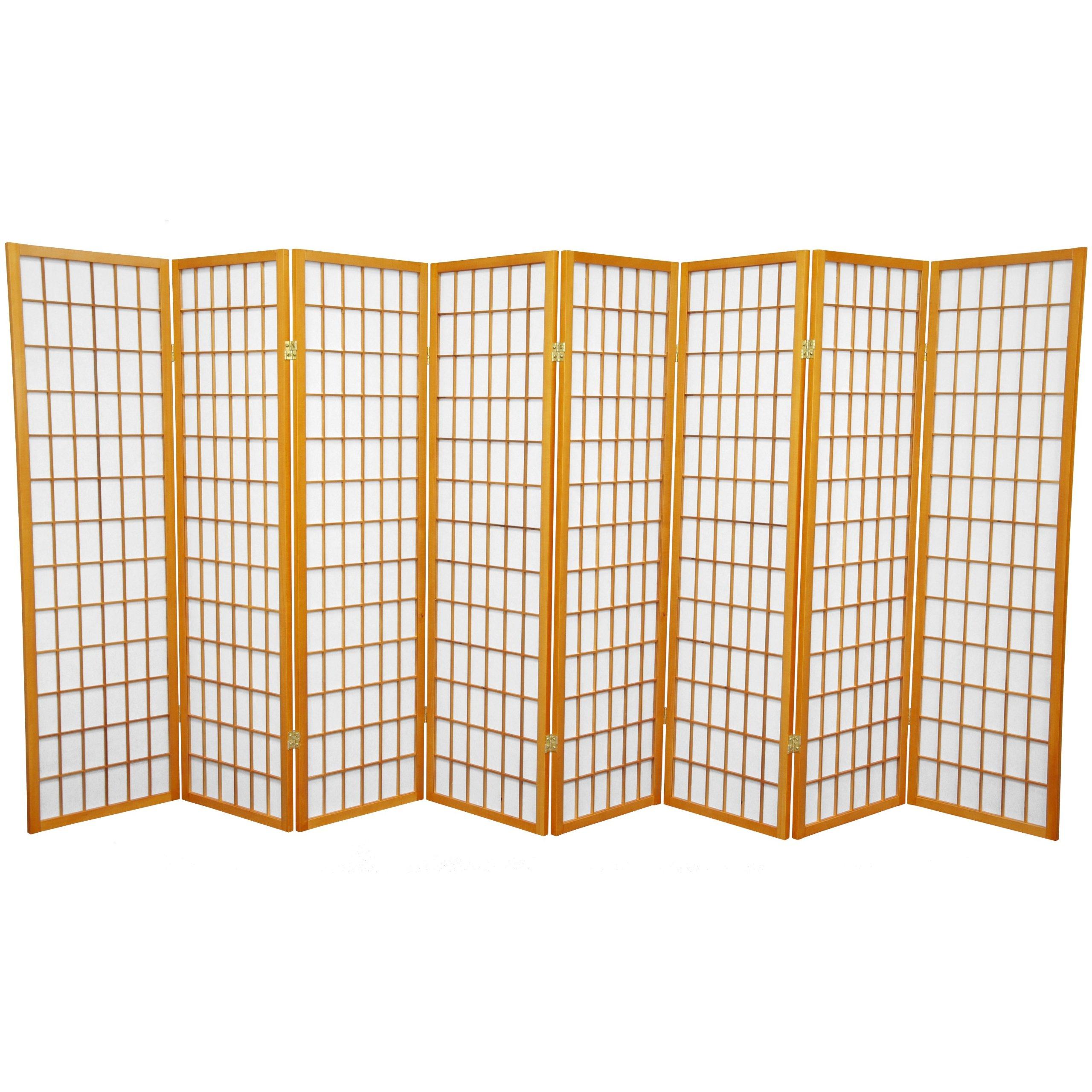 Oriental Furniture 5 ft. Tall Window Pane Shoji Screen - Honey - 8 Panels