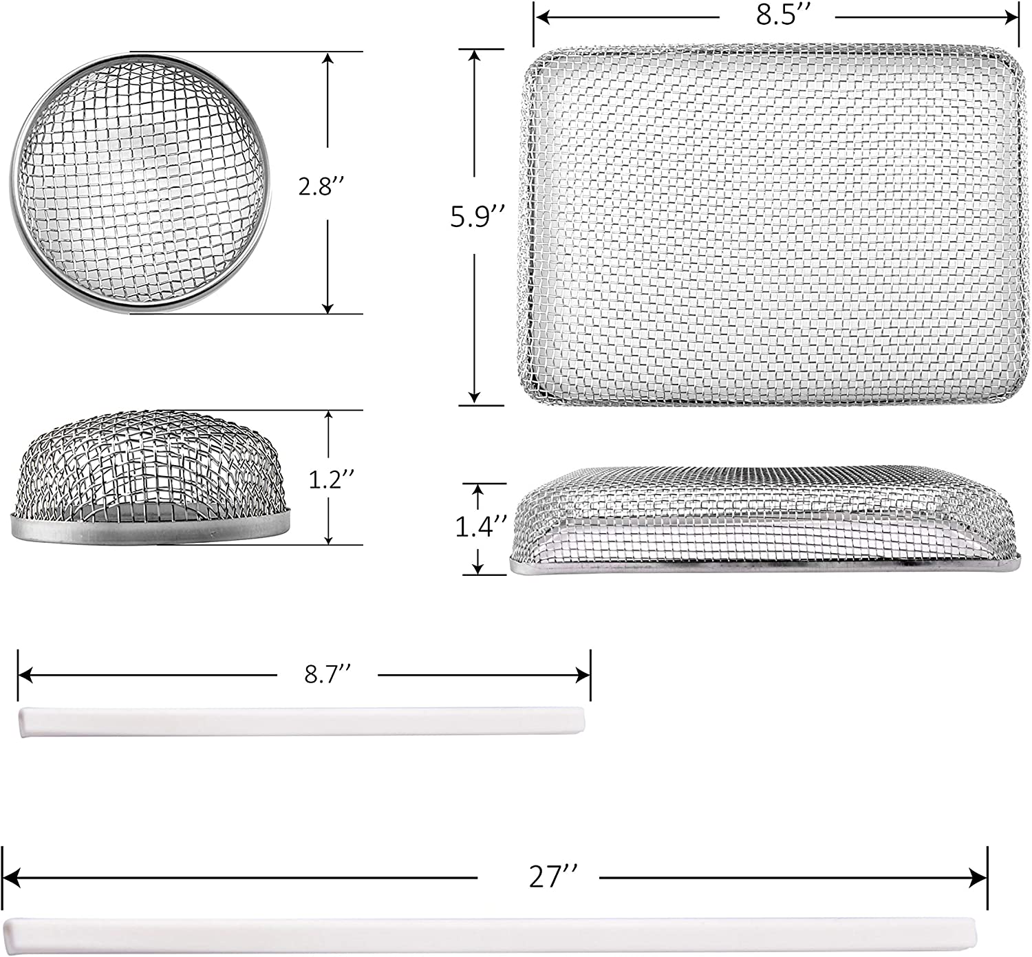 RV Furnace Vent Cover Bug Screen 2 Pack 2.8 x 1.3 Inch Stainless Steel Mesh with Installation Tool and Silicone Rubber RVGUARD RV Flying Insect Screen
