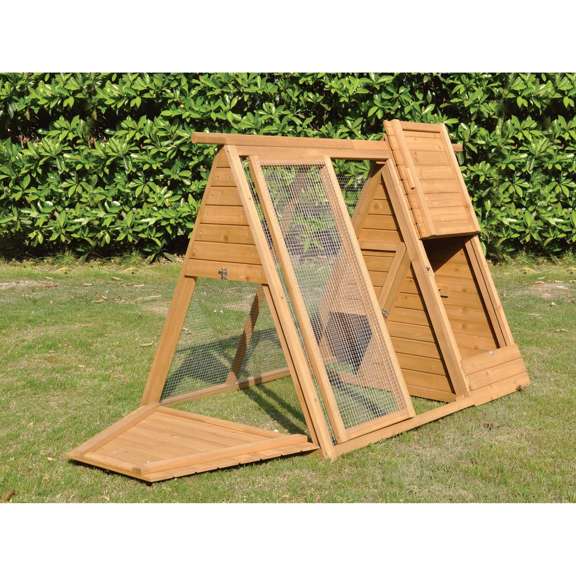A-Frame Wooden Chicken Coop with Run - 2 to 3 Hens