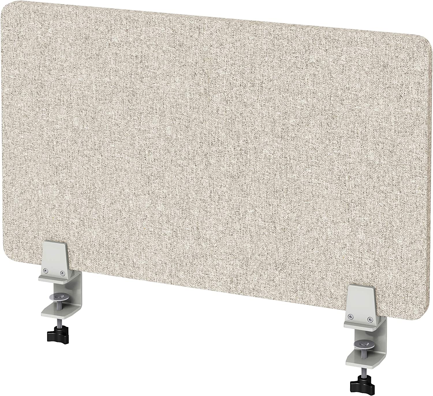 """VaRoom Acoustic Desktop Privacy Divider, 29""""W x 18""""H Sound Absorbing Clamp-on Cubicle Desk Divider Partition Panel in Tan Tackable Fabric"""
