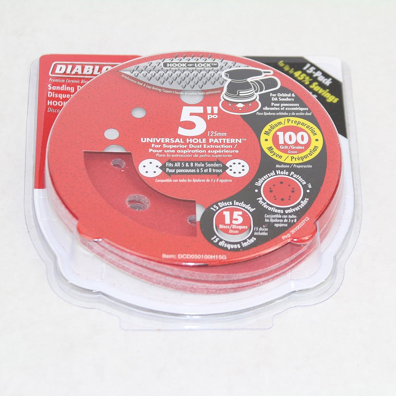 FREUD AMERICA INC 120-Grit Universal Hole Random Orbital Sanding Disc Diablo DCD050120H04G 5 in 4-Pack