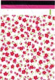 "10x13 (100) Pink Flowers Designer Poly Mailers Shipping Envelopes Boutique Custom Bags By ValueMailers (10"" X 13"")"