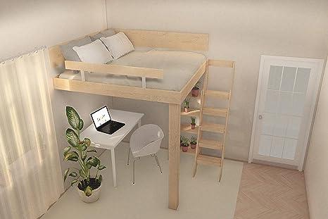 Caster Design, Ltd. Letto a soppalco con Gambe e Angoli L/R, 120 x ...